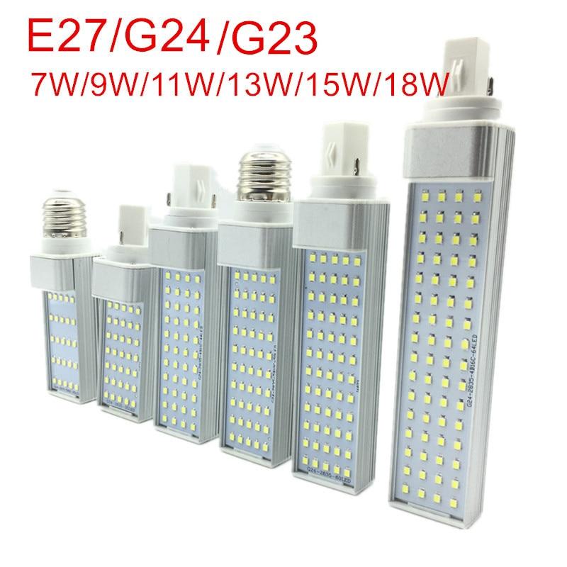 G23/E27/G24 LED Horizontal Bulb 7W 9W 11W 13W 15W 18W LED Indoor Spotlight AC85-265V Warm White/Cold White LED Bulb Lamps Lights