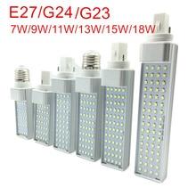 G23/E27/G24 LED Horizontal Bulb 7W 9W 11W 13W 15W 18W LED indoor Spotlight AC85 265V Warm White/Cold White LED Bulb lamps lights