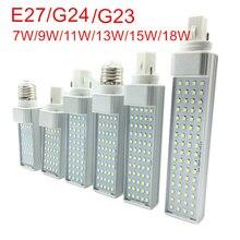 G23/E27/G24 LED yatay ampul 7W 9W 11W 13W 15W 18W LED kapalı spot AC85 265V sıcak beyaz/soğuk beyaz LED ampul lambaları