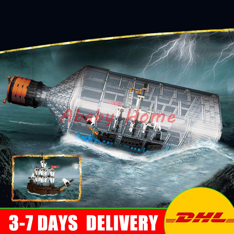 DHL Lepin 16045 Genuine Creative Series The Ship in the Bottle Set Building Blocks Bricks Toys Model for Children Gifts 21313 lepin 16002 2791pcs modular pirate ship metal beard s sea cow building block bricks set toys legoinglys 70810 for children gifts