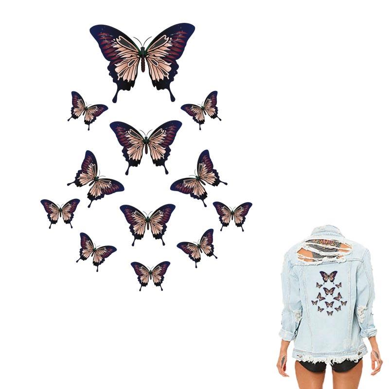 Patchs papillon sur les vêtements 1 pièces/lot transfert de chaleur impression sur T-shirt accessoire fer à repasser transfert Animal décoration Patch 208