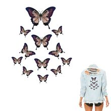Butterfly Patches On Clothes 1 pieces/lot Heat Transfer Print T-shirt Accessory Iron-On Animal Decoration Patch 208