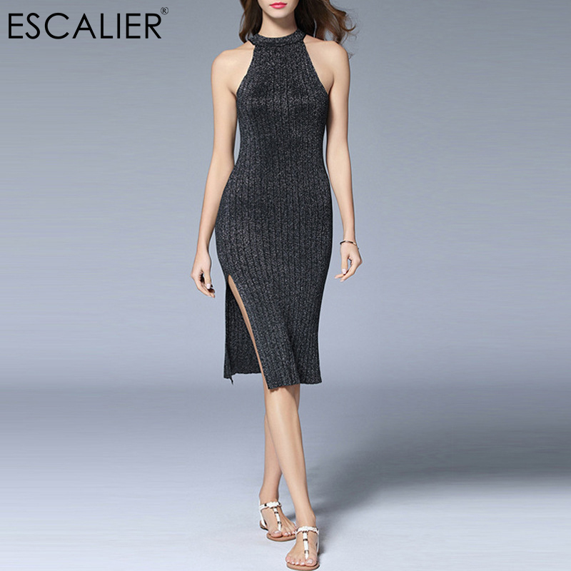ESCALIER Women Summer Dress Vintage Gray Sleeveless Knitted Dresses Sexy Mini Tight Elegan Pencil Dress baishanglinna 2018 new spring and summer women dress black gray sleeveless knitted dresses sexy tight elastic dress party dress