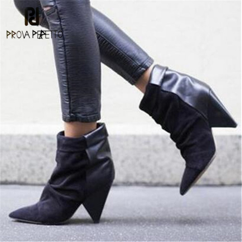 Prova Perfetto Women Ankle Boots Sexy 8CM Spike High Heel Boots Suede Autumn Botas Mujer Wedge Shoes Woman Riding BootProva Perfetto Women Ankle Boots Sexy 8CM Spike High Heel Boots Suede Autumn Botas Mujer Wedge Shoes Woman Riding Boot