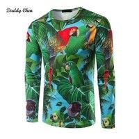 2017 Yenilik 3D t shirt Erkek Hayvan Kuş Boya Baskılı Kalça Hop Crewneck Uzun Kollu Erkekler Casual Slim Fit T-shirt Tee Tops sonbahar