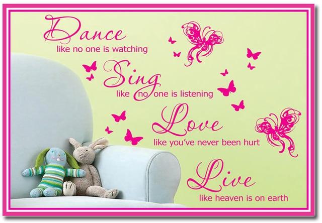 Custom Names Dacals Wall Quote Vinyl Decal Sticker DANCE SING LOVE ...