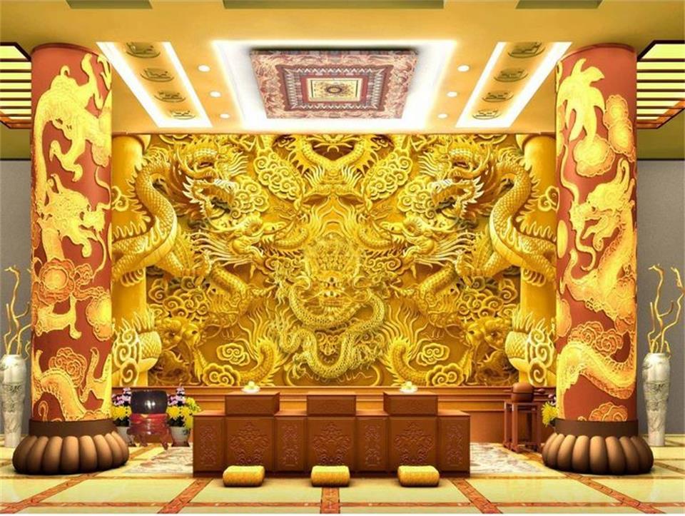 Custom 3d Photo Wallpaper 3d Wall Murals Wallpaper Hd: Custom 3D Photo Wallpaper Room Mural Golden China Dragon