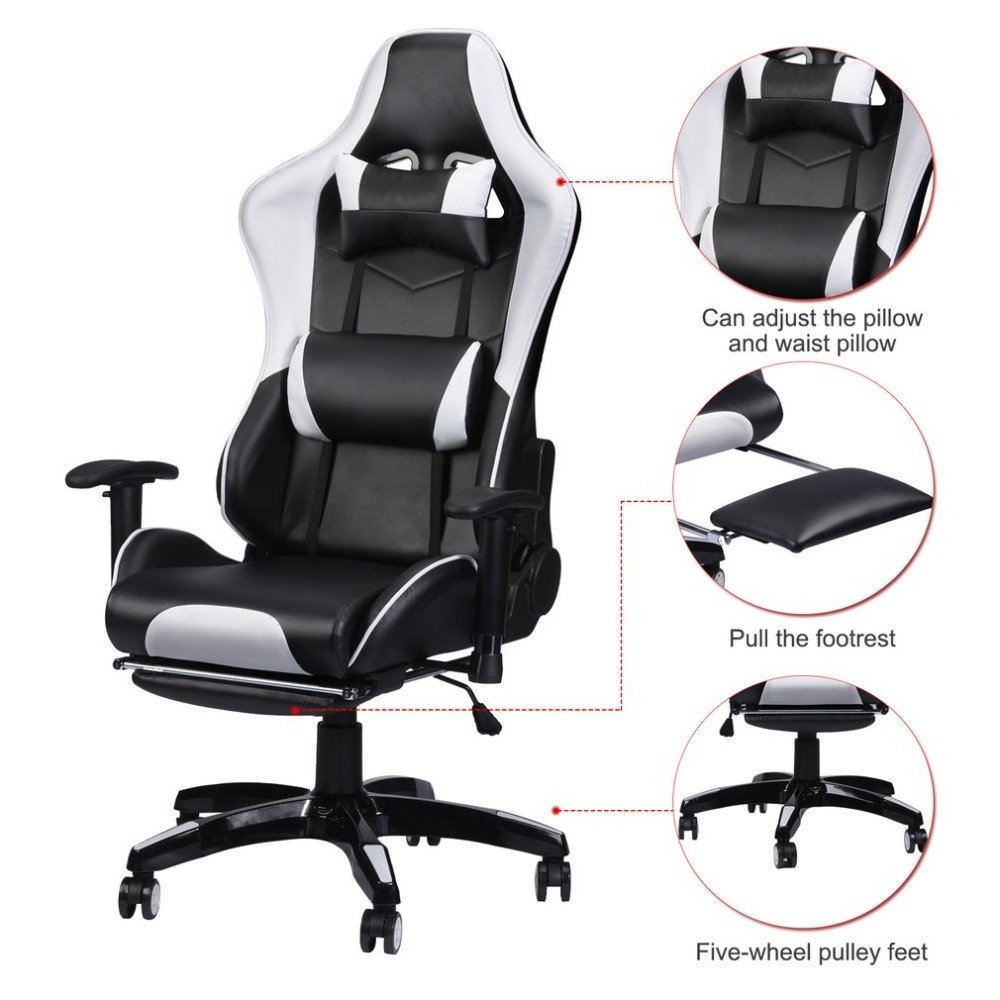 Racing Gaming Office Chair Computer Desk 360 Degree Chair Adjustable Seat & Armrests Height Backrest Recline Retractable Leg new quality leather office cadeira computer gaming chair 360 free rotating armrest backrest furniture cb10057be