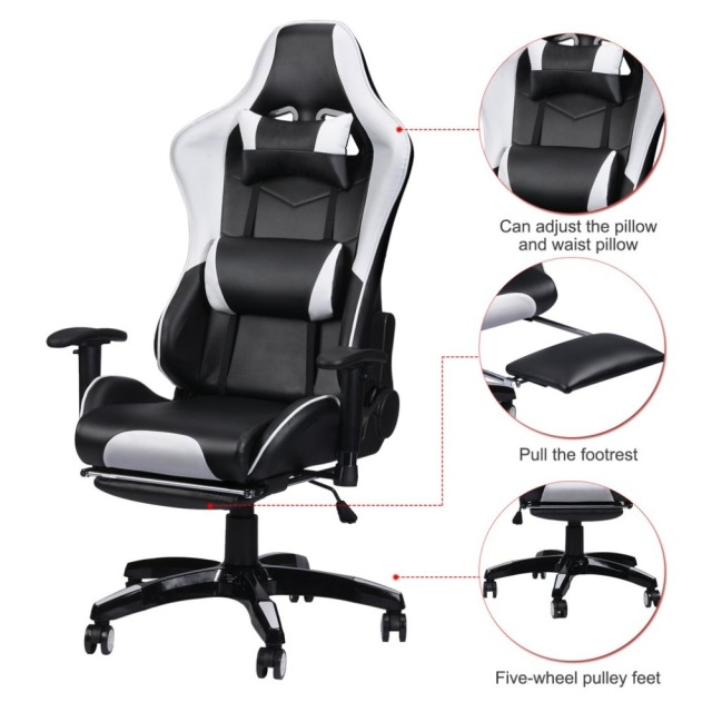 Racing Office Chairs Red Recliner Chair Gaming Computer Desk 360 Degree Adjustable Seat Armrests Height Backrest Recline