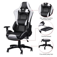 Racing Gaming Office Chair Computer Desk 360 Degree Chair Adjustable Seat Armrests Height Backrest Recline Retractable