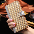 Kisscase brillo de la manera rhinestone tirón de la carpeta del diamante de bling case cubierta de bolsas para iphone 6 4.7 6 s 6 s plus case ranura para tarjeta de teléfono