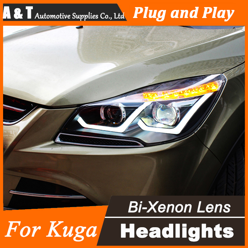 A&T Car Styling for Ford Escape Headlights LD New Kuga LED Headlight DRL Lens Double Beam H7 HID Xenon bi xenon lens  car styling led head lamp for ford kuga led headlights 2014 taiwan escape angel eye drl h7 hid bi xenon lens low beam