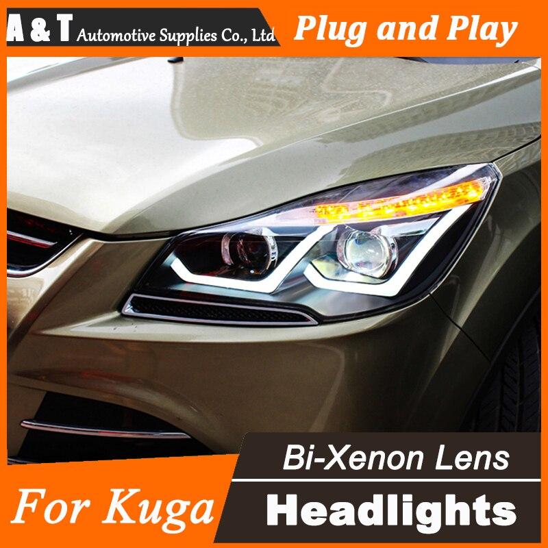 Стайлинга автомобилей для Форд Эскейп передняя фара СИД Новый Kuga LED объектив фар DRL двойным Луч H7 с HID комплект 2шт.