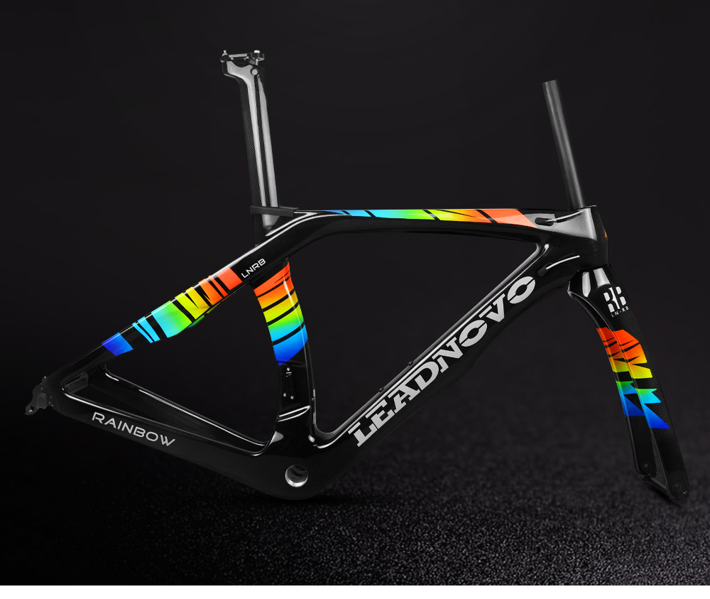 Newly rainbow 3k carbon road bike frame Di2 Mechanical THE ONE racing bicycle frameset headset accept
