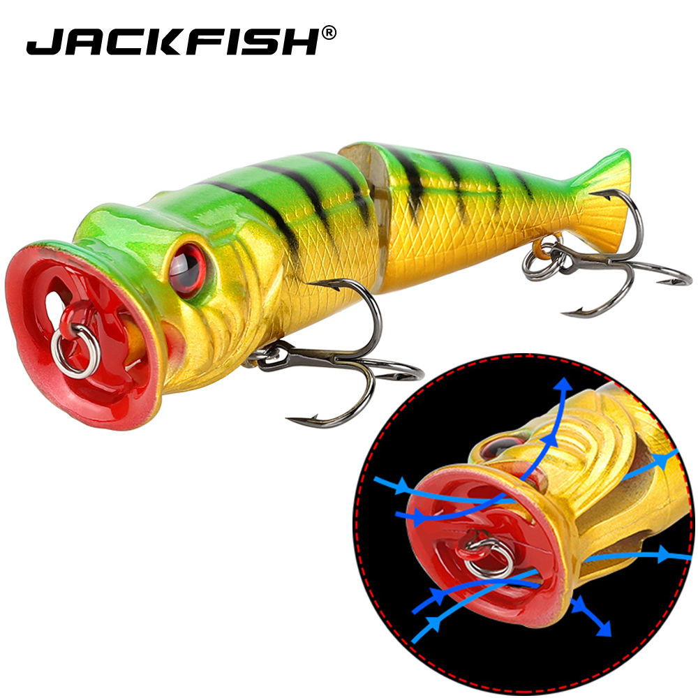 JACKFISH 2 Sections Popper Lure 8.4cm/10g Fishing Lure 6 Colors Hard Artificial Bait Top Water Hard Bait Fishing Tackle