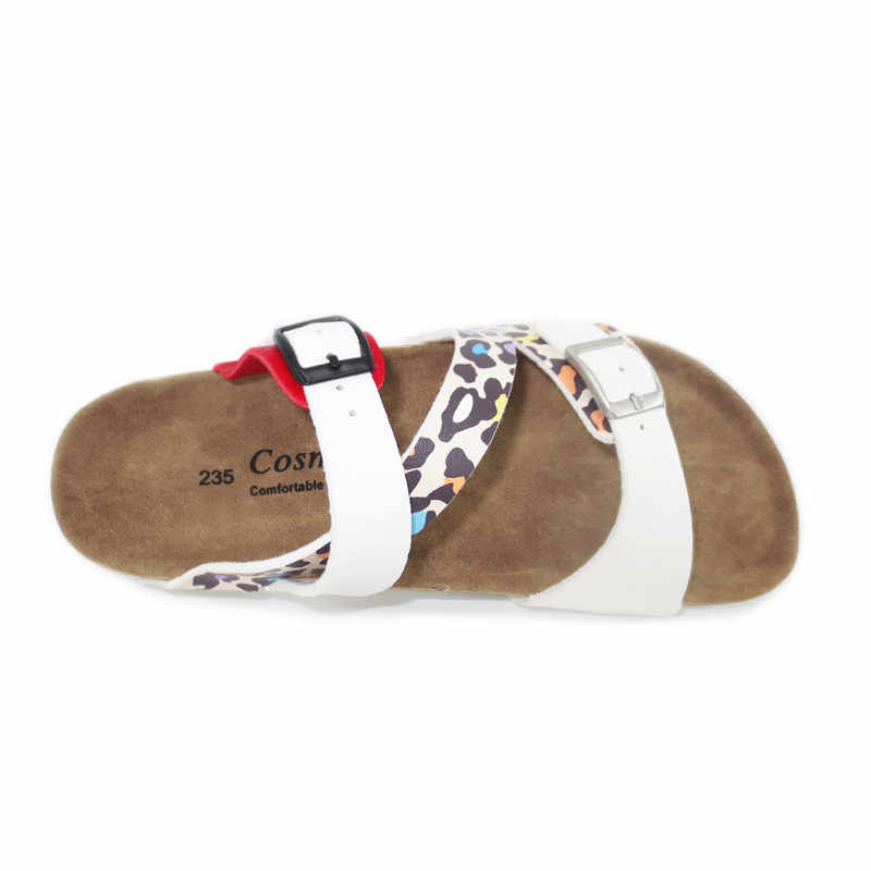 COSMAGIC/модные пробковые тапочки с принтом; Новинка 2019 года; летние женские пляжные шлепанцы в стиле пэчворк; Вьетнамки с двойной пряжкой; шлепанцы; обувь