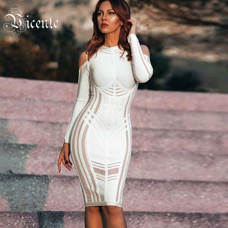 Vicente HOT 2019 New Chic Elegant Mesh Patchwork Sexy Off The Shoulder Long Sleeves Celebrity Women Wholesale Bandage Dress