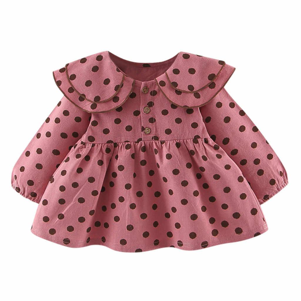 Baby Baby Meisjes Lange Mouw Ruches Dot Print Jurken Kleding Jurk