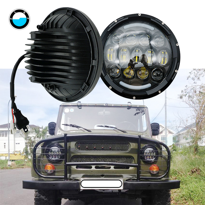 2pcs H4 7inch 105W LED Headlights Hi/Lo Beam DRL for 97-16 Jeep Wrangler JK TJ CJ Patrol GR Y60 Hummer H2 For Lada 4x4. 2pcs new design 7inch 78w hi lo beam headlamp 7 led headlight for wrangler round 78w led headlights with drl