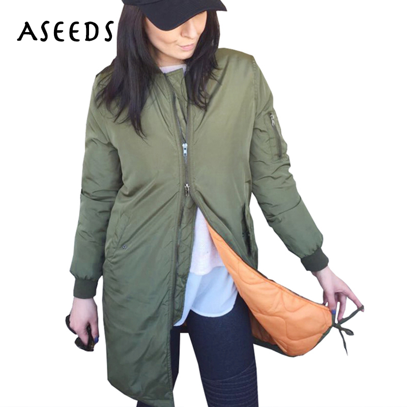 Winter Fashion long jackets and coats 2017 female Padded coat casual casacos long Army Green bomber