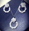 Hotsale Platinum plated AAA cubic zircon micro setting hollow flower exquisite wedding choker necklace earring jewelry set women