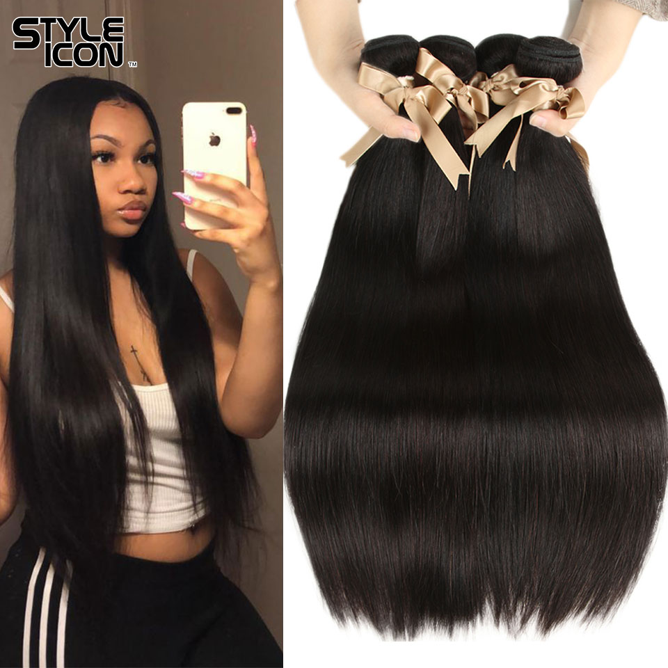 Styleicon Malaysian Straight Hair Bundles Hair Weaving 3/4 Bundles Human Hair Weave Straight Weaves Natural Color