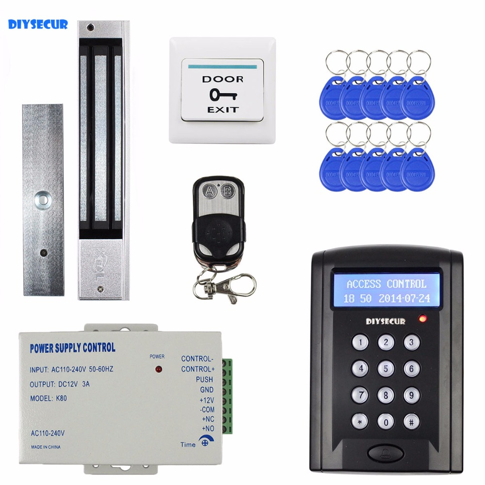 DIYSECUR Remote Control RFID Keypad Door Access Control Security System Kit + 280KG Magnetic Lock for Home Office B100 diysecur touch button rfid 125khz metal keypad door access control security system kit magnetic lock for home office use