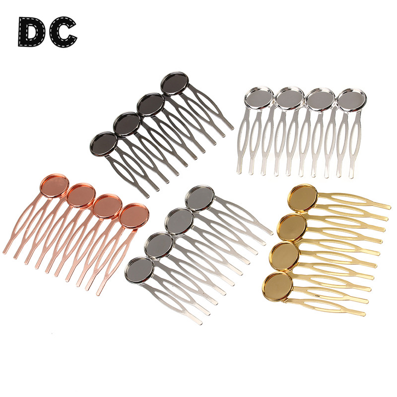 5pcs/lot 4 Base Hairpin Settings 12mm Cabochons Bases Hair Clips Hairpin Trays For Cabochon Cameo DIY Headwear Findings