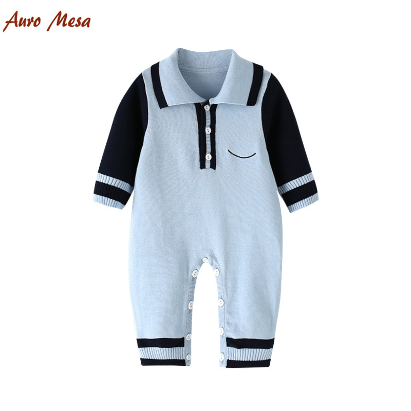 2018 Spring Boys Knit Romper 100% Cotton Long Sleeve Blue Jumper Newborn Clothing Baby outfits