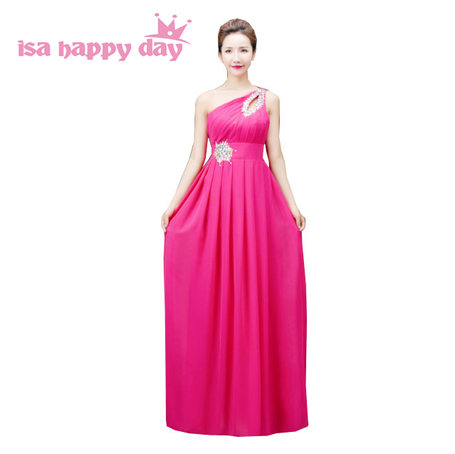 Plus Size Beaded One Shoulder Hot Pink Long Chiffon Bridesmaid Dress