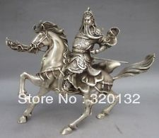 Collectable Tibet Silver Warrior God Guan Yu Statue wholesale factory BRASS Arts outlets