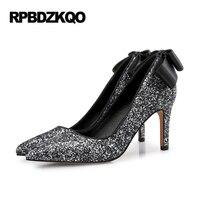 반짝이 하이힐 신발 8 센치메터 3 인치 큰 사이즈 블랙 스틸레토 장식 조각 여성 2017 11 43 활 펌프