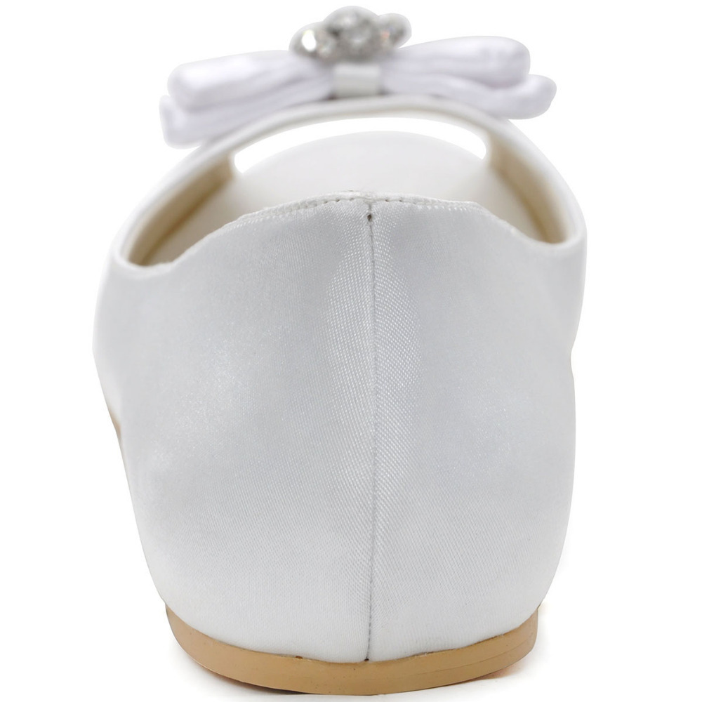 Blanc Dames Ep11102 Femme 12 Mariée Satin Chaussures De Plus Ballet Strass Arc Toe Appartements Taille La Ivoire Élégante Mariage Peep w1xXIqr0X