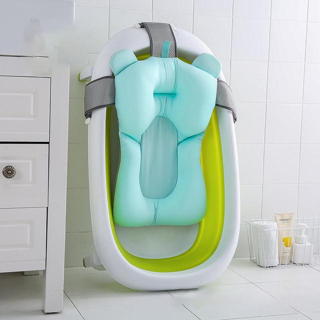 Baby Bath Mat Soft Non-slip Bathing Cushion Bathtub Shower Bed for Toddlers Infant Anti-skid Newborn Seat Soft Pad