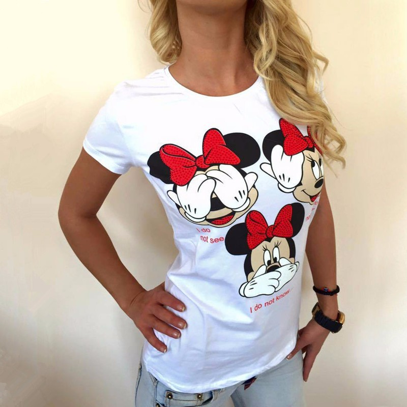 Women Funny Letter Printing Casual T Shirt 14