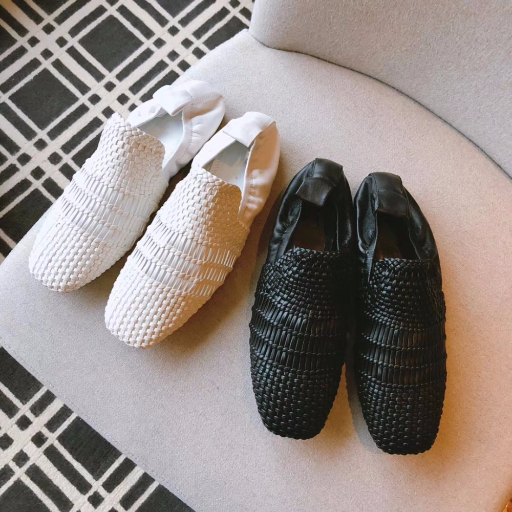 2018 shaduo Fashion Shoes Woman Sheepskin knit Flats Women Flats Luxury Slip On Women Flat Shoes Pointed Toe Leather loafers ladies shoes fashion rhinestone bow women flats spring slip on loafers women pointed toe flat shoes waman black brown flats