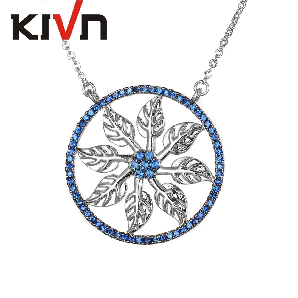 KIVN Fashion Jewelry Leaf Flower Pave CZ Cubic Zirconia Women Girls Bridal Wedding Pendant Necklaces font