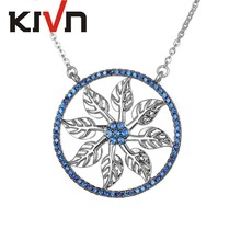 KIVN Fashion Jewelry Leaf Flower Pave CZ Cubic Zirconia Women Girls Bridal Wedding Pendant Necklaces Christmas Birthday Gifts