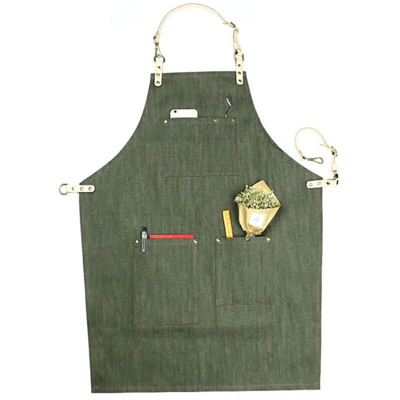 Grön Svart Denim Förkläde Läder Rem Barista Bartender BBQ Pastry - Hushållsvaror