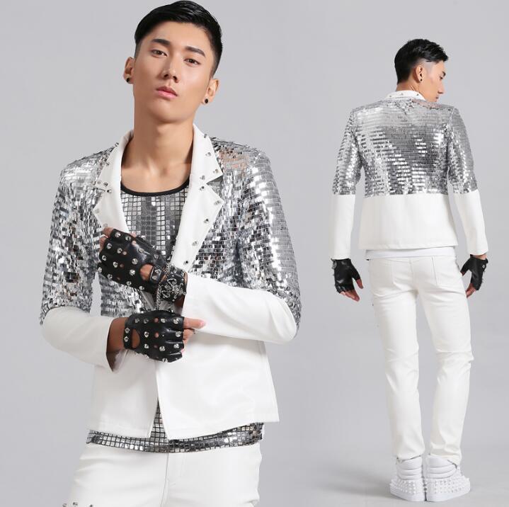 남성 가죽 정장 디자인 무대 의상 가수 남자 sliver 스팽글 재킷 댄스 의류 재킷 드레스 펑크 록 패션