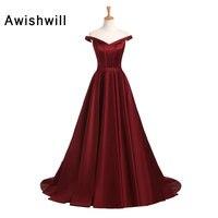 Vintage Evening Dresses For Women Off The Shoulder A Line Satin Burgundy Formal Dress Engagement Reception
