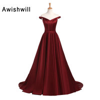 Vintage Evening Dresses for Women Off the Shoulder A Line Satin Burgundy Formal Dress Engagement Reception Dress Real Picture