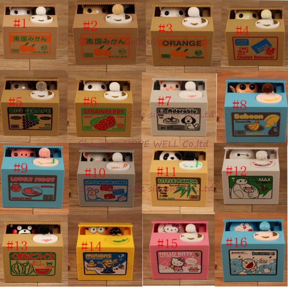 Panda automated baboon porco cão rato itazura gato roubar moeda mealheiro economia caixa de dinheiro moeda banco crianças presente 16 modelos