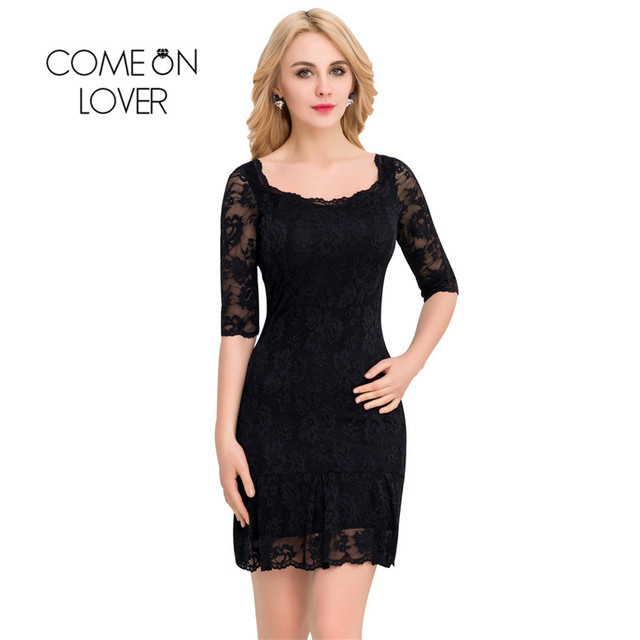 8d72afd202 VI1046 Comeonlover Plus Size Pencil Wrap Lace Dresses Elegant Midi Bodycon  3 4 Sleeve Party Dresses Vestido De Renda Ropa Mujer