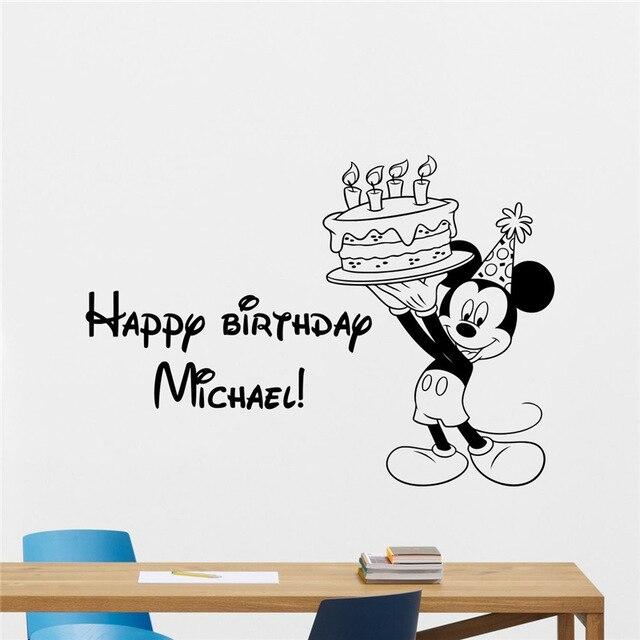 Mickey Mouse Wall Decal Happy Birthday Gift Holiday Boy Custom Name Cartoons Vinyl Sticker Girl Boy Kids Room Wall Sticker