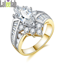 Lateefah Luxury Victorian Rings for Women Big White Marquise Cubic Zirconia Two-tone Gold Color Fashion Wedding Ring Bague