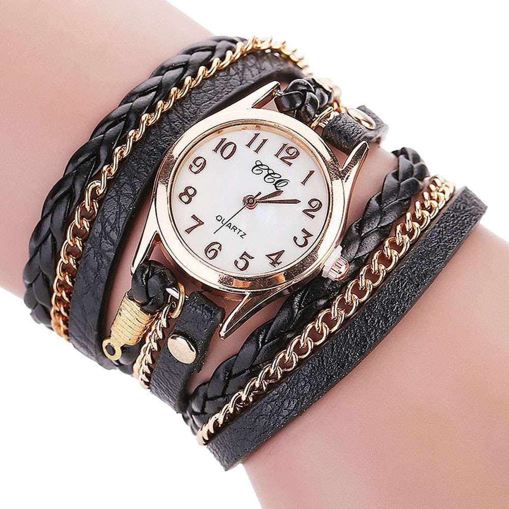 Lady Woman Watches Crown Bracelet Braided strap Multi-Color Optional Quartz Wrist Watch sreloj mujer montre femme orologio donna(China)
