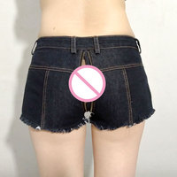 Sexy Women Tassel Low Rise Waist Hot Short Two Way Zipper Open Crotch Sexy Denim Booty Sexy Jeans Micro Mini Shorts Plus Size 52