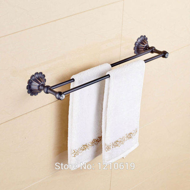Newly Oil Rubbed Bronze Btahroom Double Towel Bars Holder Crystal