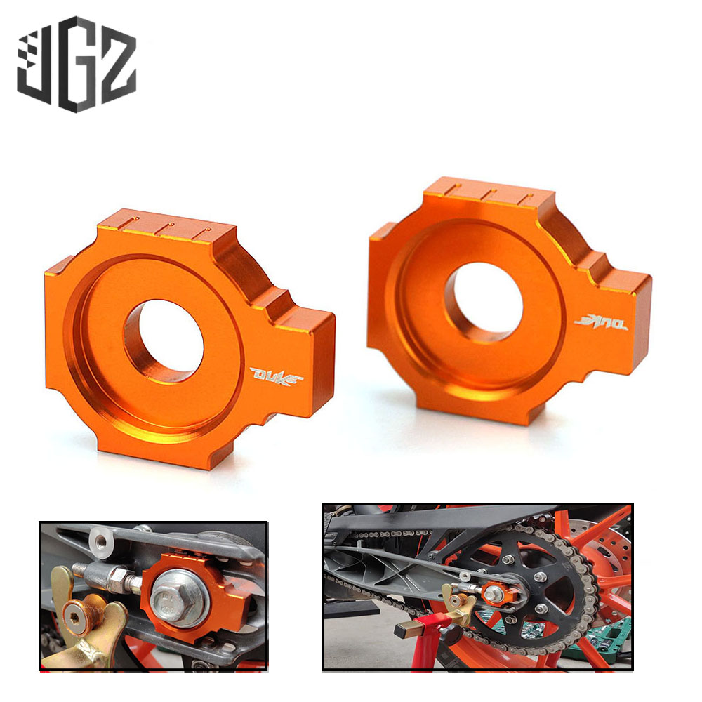 Orange Motorcycle <font><b>CNC</b></font> Aluminum Chain Adjusters Blockers Pair Accessories for KTM Duke 125 200 390 2013 2014 2015 2016 <font><b>2017</b></font> 2018 image